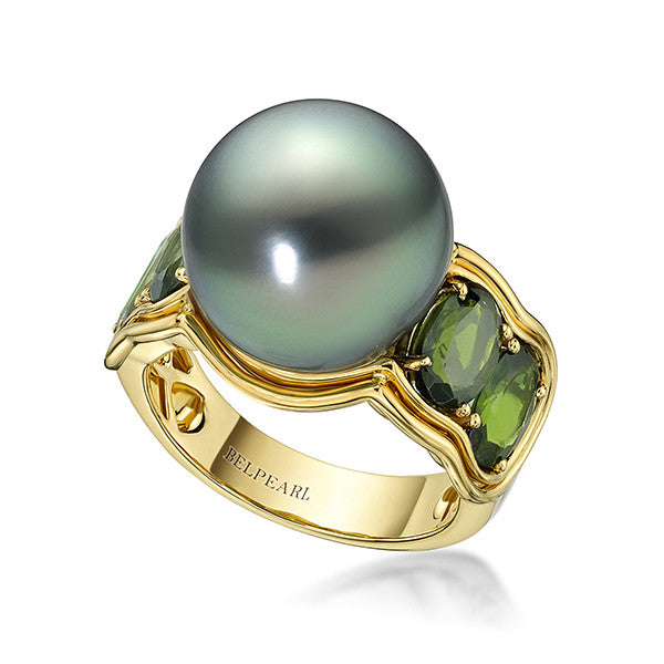 Green Aura Ring Tahitian
