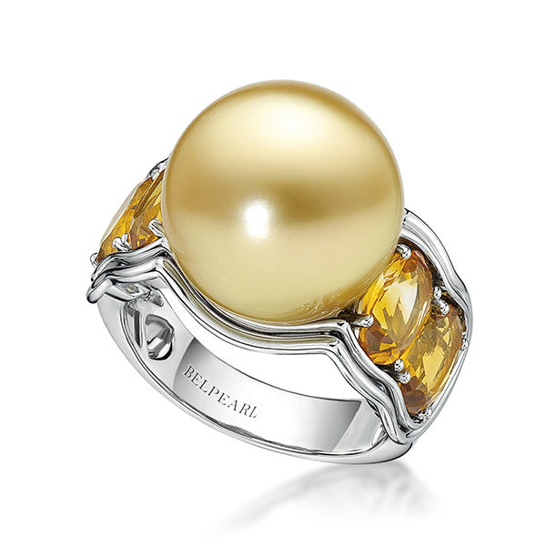 Aura Ring Citrine - South Sea Pearl Ring