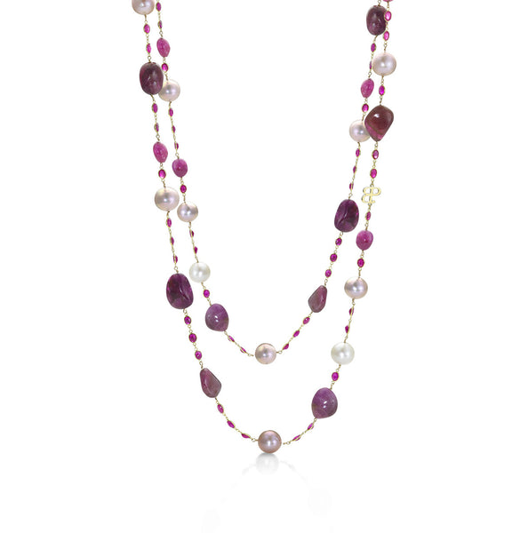 Resort Red- Baroque Pink pearl necklace