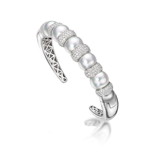 Avenue Cuff - South Sea Pearl and diamond bracelet