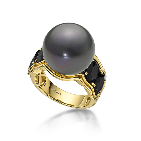 Aura Ring Black - Tahitian Pearl Ring
