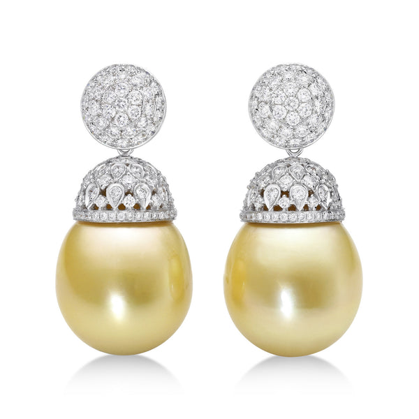 Avenue Gala Drops - golden South Sea pearl earrings