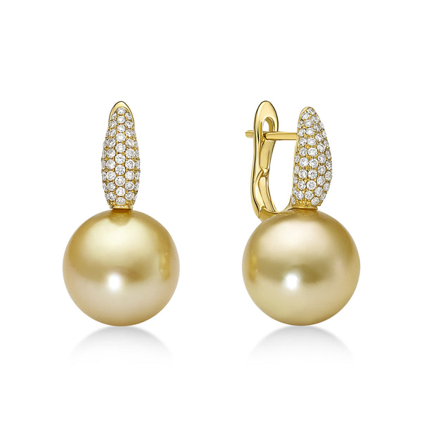 Golden Slim Earrings Diamonds - South Sea pearl earrings