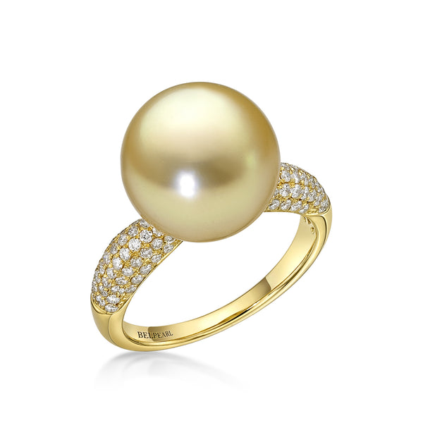 Golden Slim Ring Diamonds - South Sea pearl ring