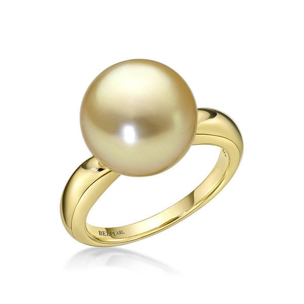 Golden Slim Ring - South Sea pearl ring