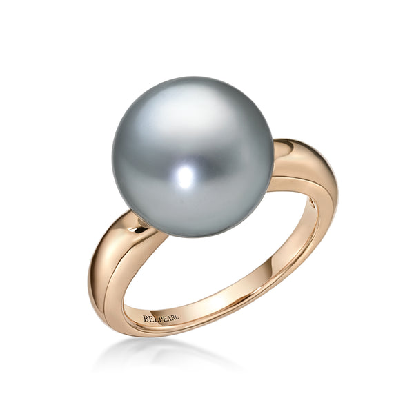 Tahitian Slim Ring - Black Pearl Ring