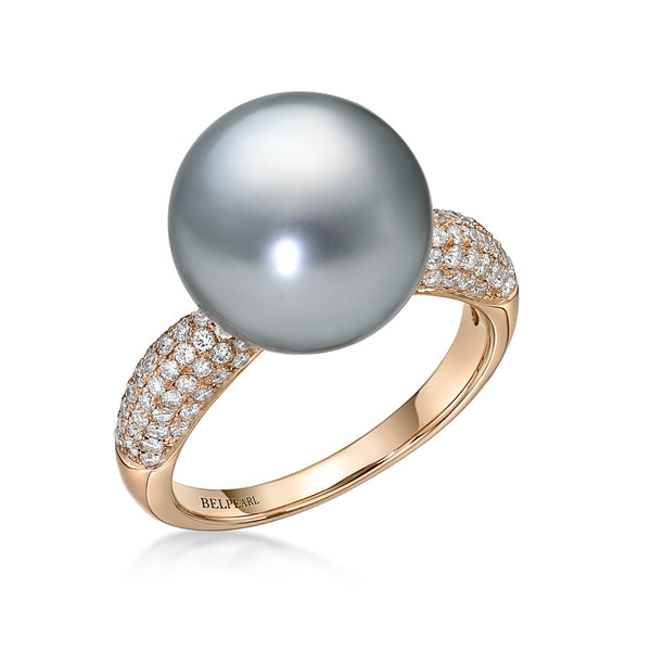 Tahitian Slim Ring Diamonds - Black Pearl Ring