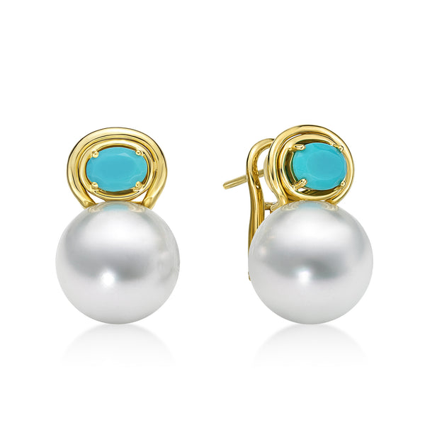Aura Earring Turquoise - south sea pearl earrings