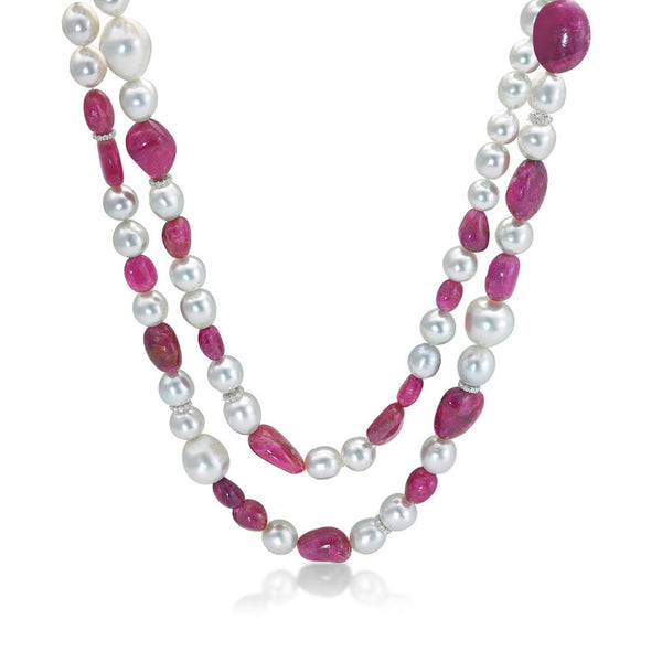 Resort Grand Red- Baroque pearl necklace