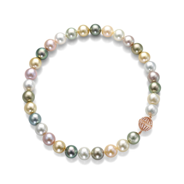 Round Melange Strand- Multi colored pearl necklace