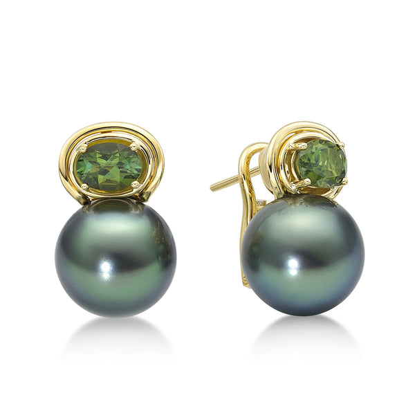 Aura Earring Green - Tahitian Pearl Earrings