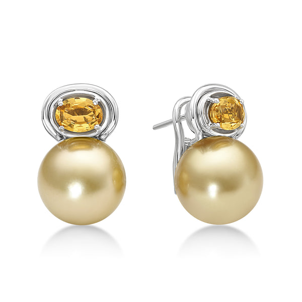 Aura Earring Citrine - Gold South Sea pearl earrings