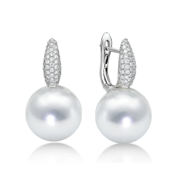 White Slim Earrings Diamonds - diamond and pearl earrings
