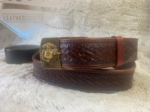 USMC Mahogany Belt w/EGA Buckle - Leatherneck Leathercrafts