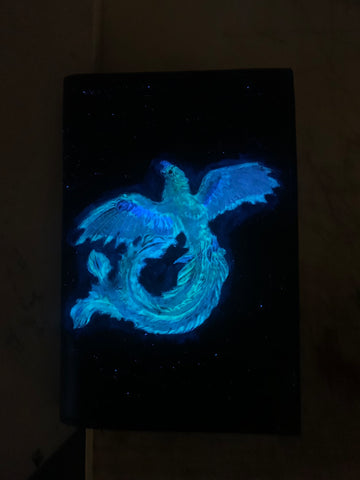 Glow in the Dark Phoenix Rising Mini Padfolio - Leatherneck Leathercrafts