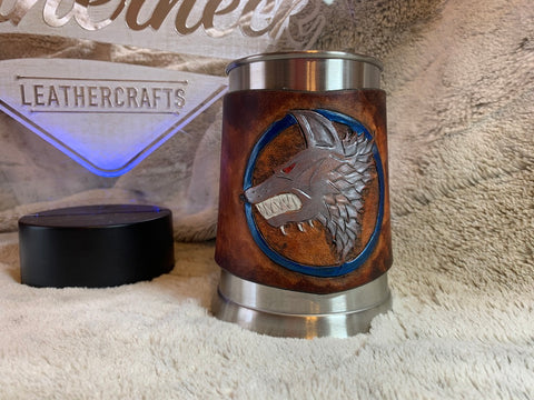 Wolves in Space Beer Mug - Leatherneck Leathercrafts