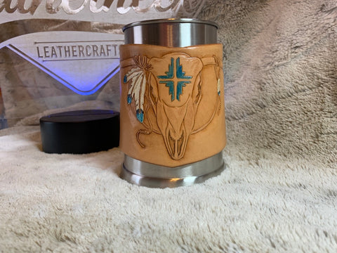 Skull and Feathers custom beer mug - Leatherneck Leathercrafts