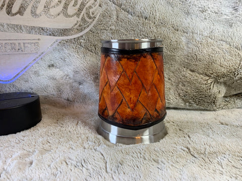 Hand Carved Dragon Scale Beer Mug Wrap - Leatherneck Leathercrafts
