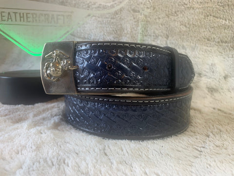 USMC Black and Silver w/EGA Bronze Buckle - Leatherneck Leathercrafts