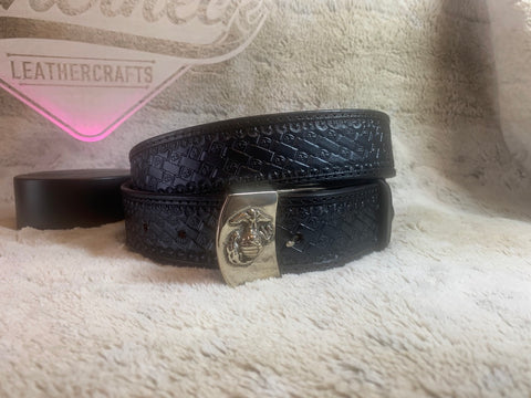USMC Black on Black Belt w/EGA Buckle - Leatherneck Leathercrafts