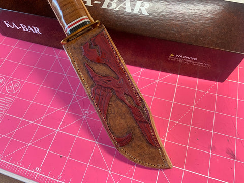 "Custom ""This is the Way"" knife sheath and KA-BAR Marine Hunter Combo for KR - Leatherneck Leathercrafts"
