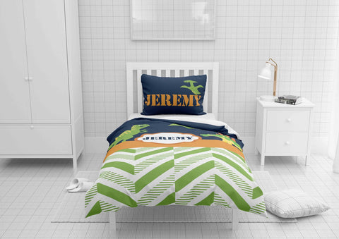 personalize dinosaur boys bedding set for full bed comforter cover