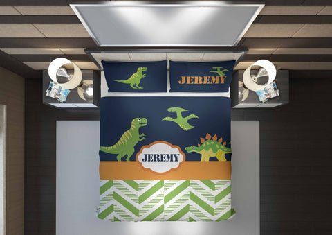 personalize dinosaur boys bedding set for queen comforter cover bed