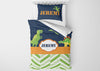 Image of personalize dinosaur boys bedding set for toddler comforter cover bed