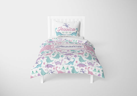 custom dinosaur girls bedding set for toddler bed
