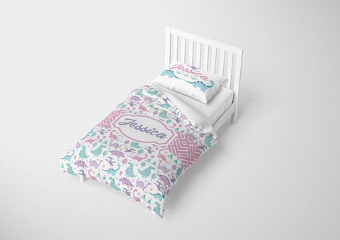 custom dinosaur girls bedding set for twin bed