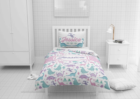 custom dinosaur girls bedding set for twin xl