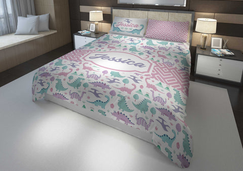 custom dinosaur girls bedding set for king bed