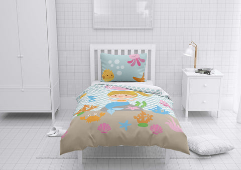 Happy Mermaid #7 - Toddler, Twin, Twin XL, Full, Queen - Comforter & Duvet