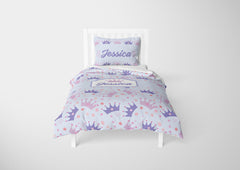 Blue Princess Tiaras #8 Girls Comforter & Duvet Bedding Set-Twin,Twin XL,Full,Toddler,Queen