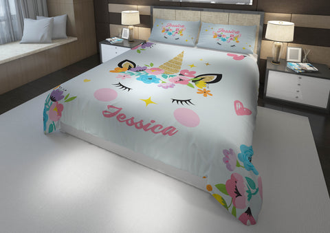 Unicorn Horn #4 Girls Comforter & Duvet Bedding Set-Twin,Twin XL,Full,Toddler,Queen