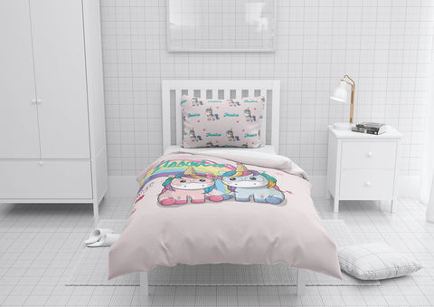 Unicorn Brothers & Sisters #6 Girls Comforter & Duvet Bedding Set-Twin,Twin XL,Full,Toddler,Queen
