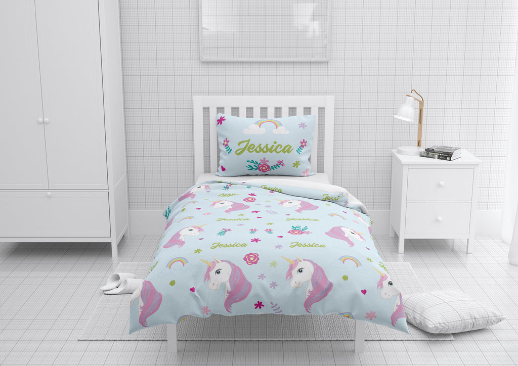 Personalized Girls Unicorn Bedroom Set Comforter Duvet For Toddler Twin Full Queen Or King Beds Dreamy Beddings