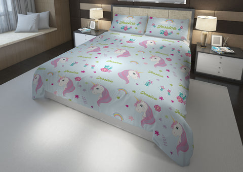 Flowery Unicorn #8 Girls Comforter & Duvet Bedding Set-Twin,Twin XL,Full,Toddler,Queen