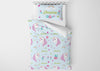 Image of Flowery Unicorn #8 Girls Comforter & Duvet Bedding Set-Twin,Twin XL,Full,Toddler,Queen