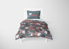 Image of black and red dinosaur bedding set for boys full sized bed