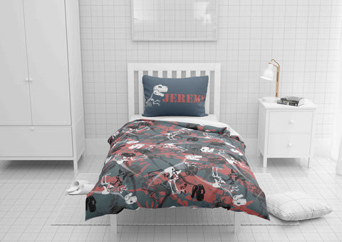 black and red dinosaur bedding set for boys twin xl sized bed