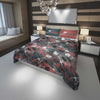 Image of black and red dinosaur bedding set for king bed