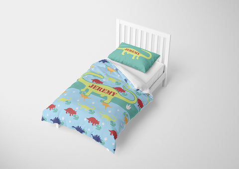 personalized twin bed with dinosaur comforter and duvet