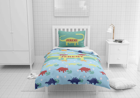 personalized twin xl bed with dinosaur comforter and duvet