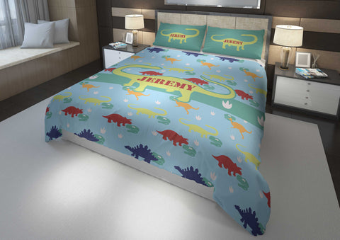 personalized king bed with dinosaur comforter and duvet