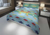 Image of personalized king bed with dinosaur comforter and duvet