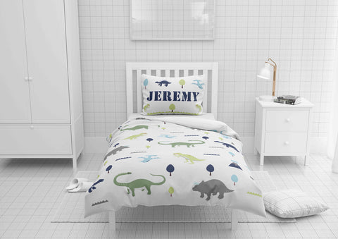 personalized dinosaur bedding set for toddler bed and comforter or duvet