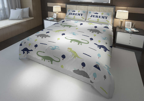 personalized dinosaur bedding set for king bed and comforter