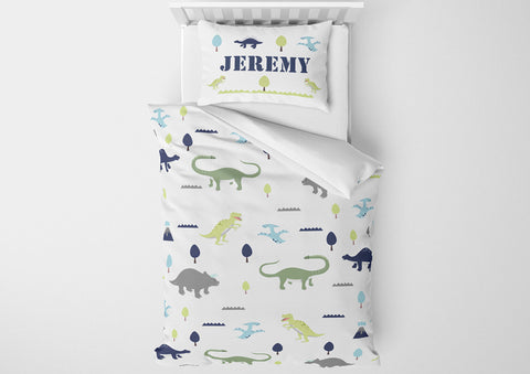personalized dinosaur bedding set for toddler bed and comforter