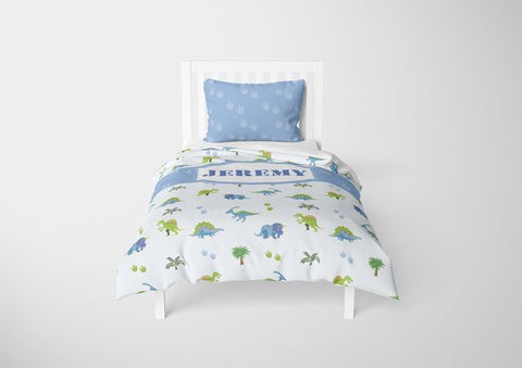 dinosaur boys bedding set thats personalized for twin